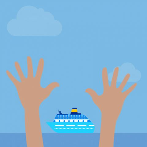 Круизный лайнер проходит мимо небольшого острова вокеане. Поберегу бегает бородатый мужчина ичто-то кричит, размахивая руками…