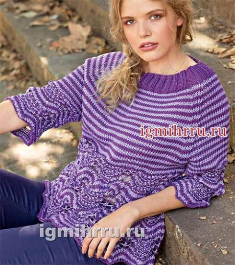 Пуловер реглан с полосками и…