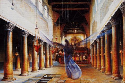 Посещение ангелом храма Рождества Христова в Вифлееме