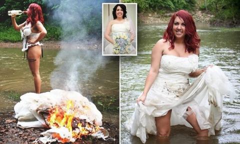 Девушка Отпраздновала Развод Фотосессией С Сожжением Свадебного Платья
