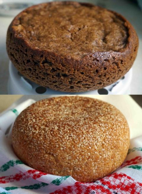 Чёрный хлеб и булочка с кунж…