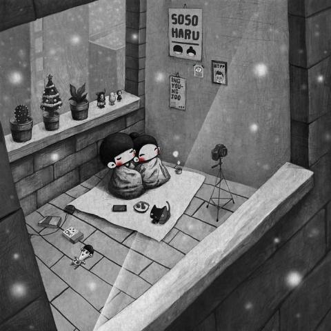 Милые моменты из жизни супругов, которые создаёт корейский иллюстратор