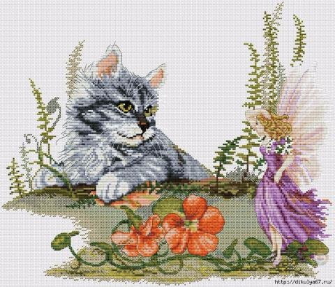 Кошечки в вышивке