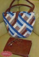 Вязаная сумка в стиле пэчворк
