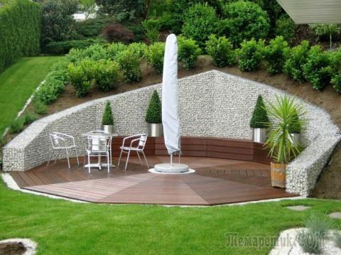 Гениальные идеи использования габионных сеток в ландшафтном дизайне приусадебного участка