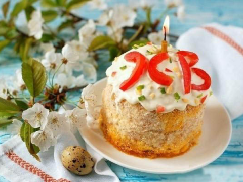 """Салат «Пасхальный кулич». Слоёное пирожное """"Пасхальное яичко"""" - рецепт бабушки Эммы"""