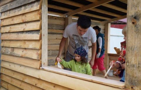 Вот такую беседку детям муж построил сам!