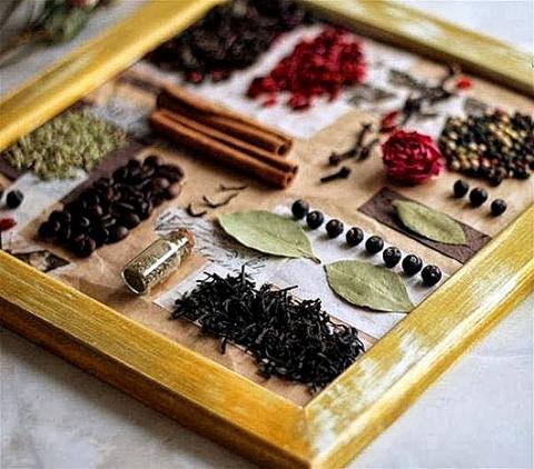 Коллаж из пряностей для декора кухни
