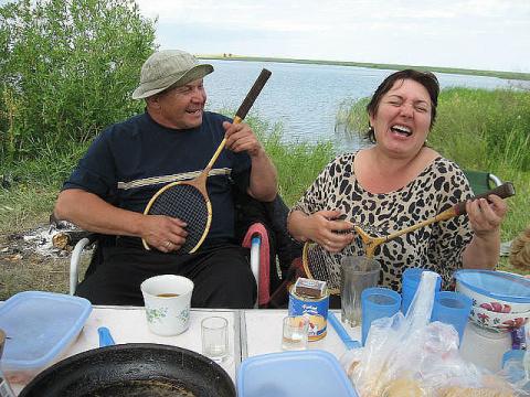 Была с мужем на рыбалке...
