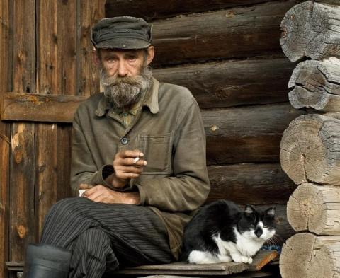 Дед и кот