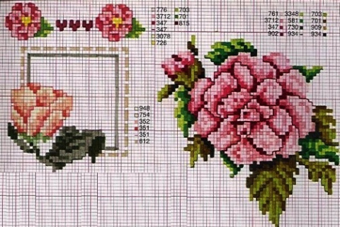 Схемы цветов для вышивки кре…