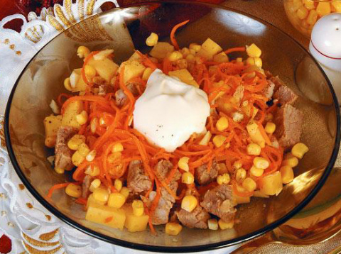 Салат из отварной говядины и отварной