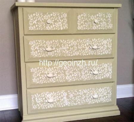 Как сделать декор мебели кружевами