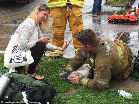 Пожарный реанимировал малень…