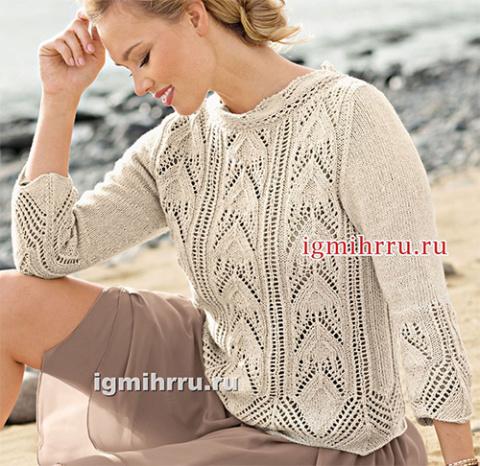 Легкий пуловер с ажурными ст…