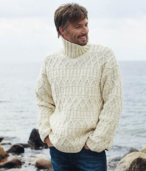 Мужской свитер с рельефным у…