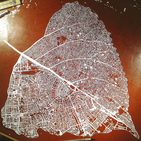 Paper Cut Into Leaf Map Of Amsterdam By Nils Westergard