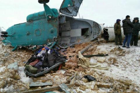 МЧС завершило работы на месте крушения вертолета Ми-8