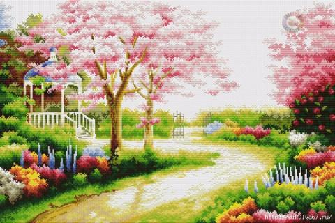 """Вышивка картины """" Весна в парке"""""""