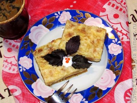 Пирог из лаваша с сыром и кабачком
