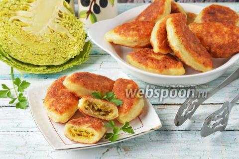 Творожные пирожки с капустой жареные