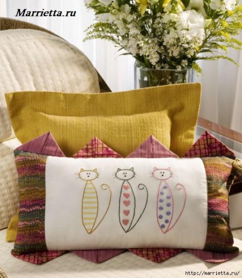 МК — пошив диванной подушки с вышивкой кошечек