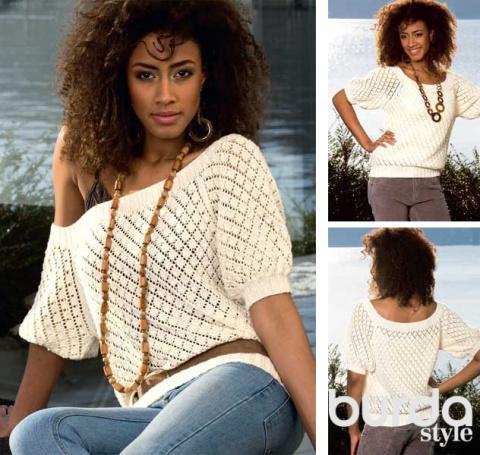Ажурный пуловер спицами с широким вырезом