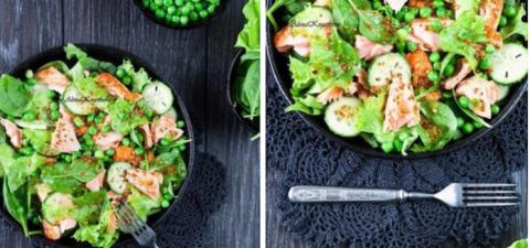Филе лосося с овощами в горч…