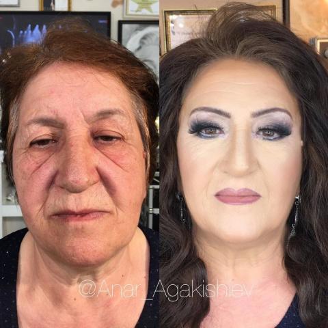 Азербайджанский стилист делает женщин моложе на десятки лет при помощи макияжа