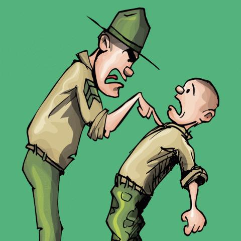 Останавливает сержант новобранца…