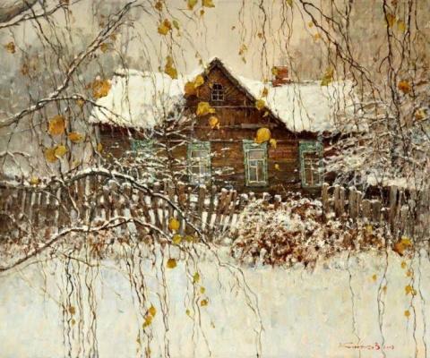 Художник Валентин Коротков. Весенний разлив и зимние сумерки