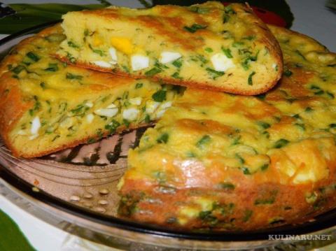 Витаминный пирог с яйцами и зеленым луком. Тушеная курица с картофелем в мультиварке