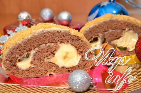 Шоколадный рулет с бананом