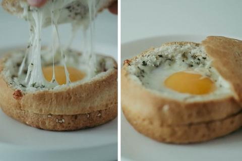 Яичница в булочке.