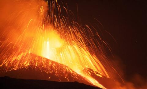 Извержение вулкана Этна в прямом эфире