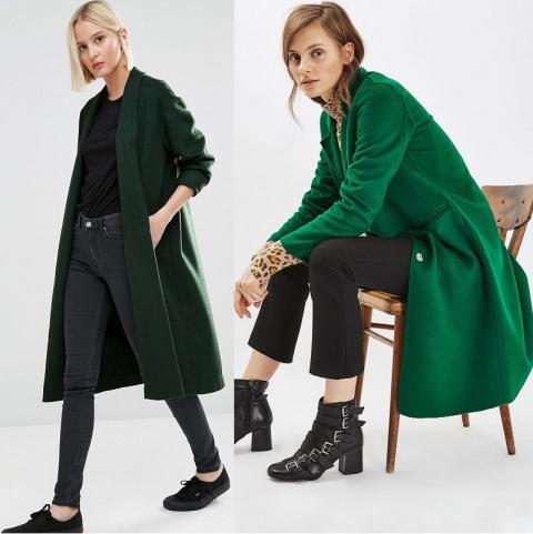 Зеленое женское пальто на 2017 год:  фото модных моделей