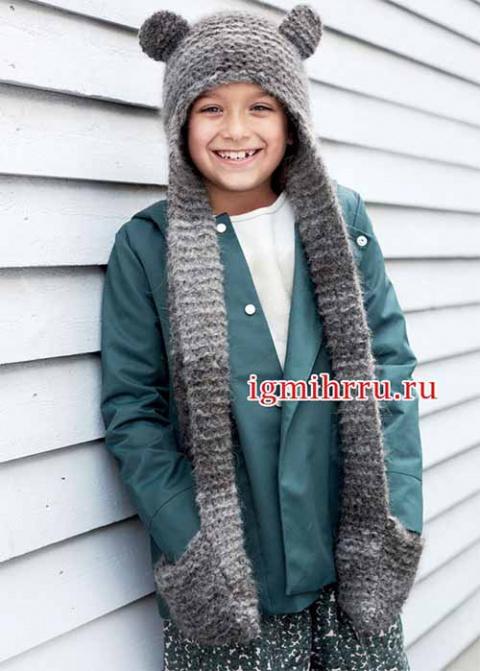 Детская шапочка-шарф с ушкам…