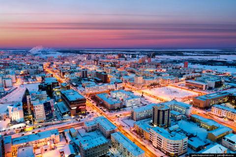 Один из самых «холодных» городов Земли с высоты
