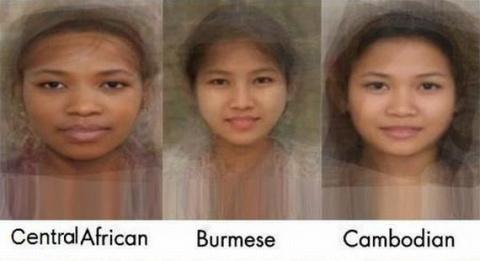 Фото  лиц женщин разных национальностей. Обобщенный русский портрет.