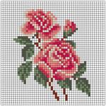 Маленькая вышивка розы крестом схемы