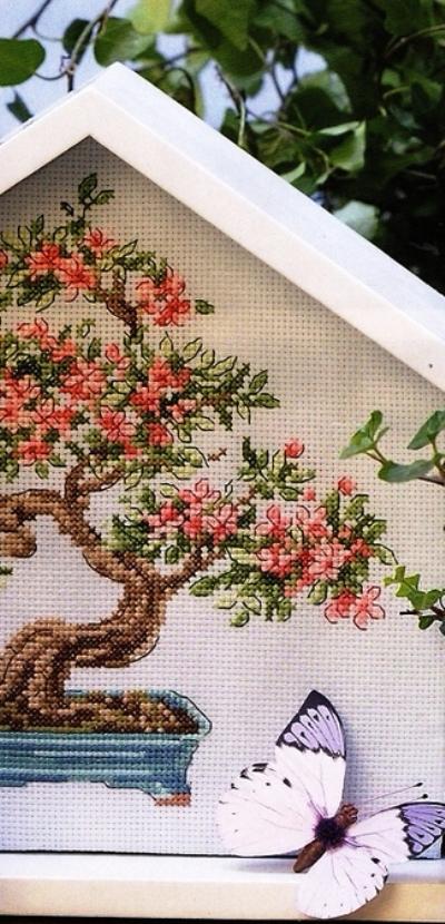 Схемы вышивка крестом бонсаи