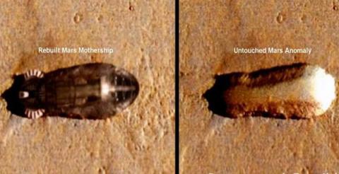 На фотографии Марса найден 2-километровый звездолет
