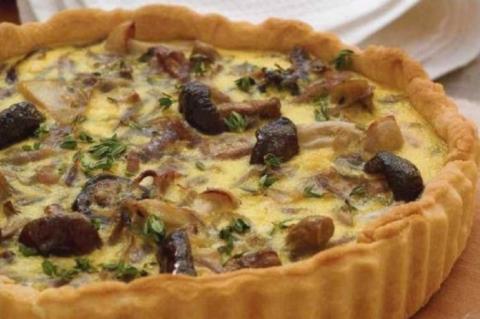 Пирог с грибами и сыром, кот…