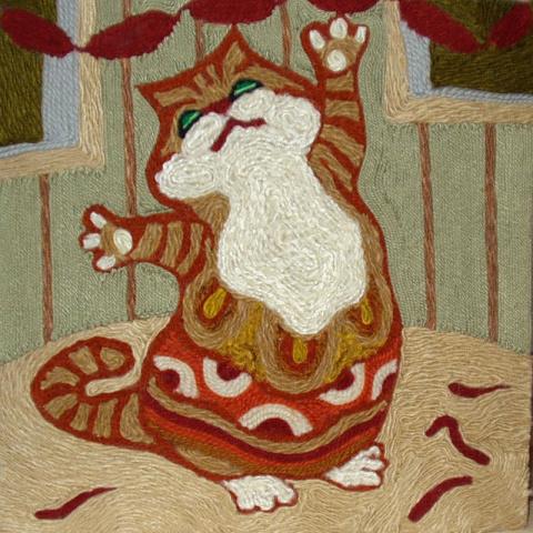 Кошки в ниткографии и батике