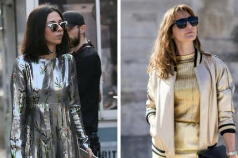 Как носить модный цвет металлик этой весной: 6 стильных примеров