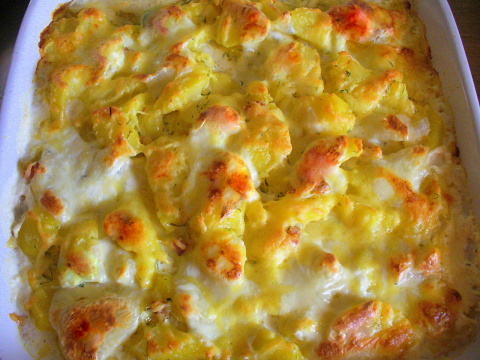 Запеканка из картофеля с рыбными палочками, беконом, моцареллой. Фото-рецепт. Olga Dell