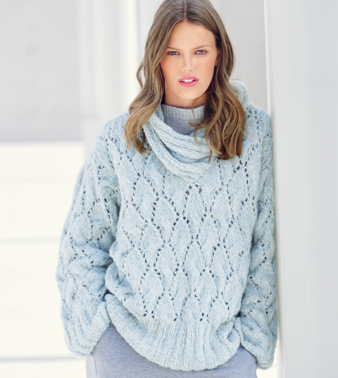 Пуловер оверсайз спицами