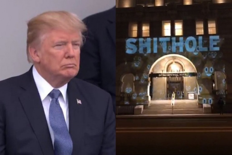 Над отелем Трампа написали «…