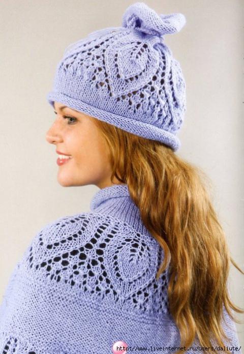 Интересные комплекты - шапочка с пелериной спицами