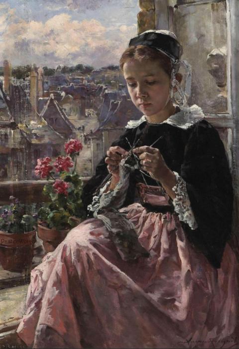 Женщины-рукодельницы в живописи